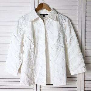 Lafayette 148 textured white button down
